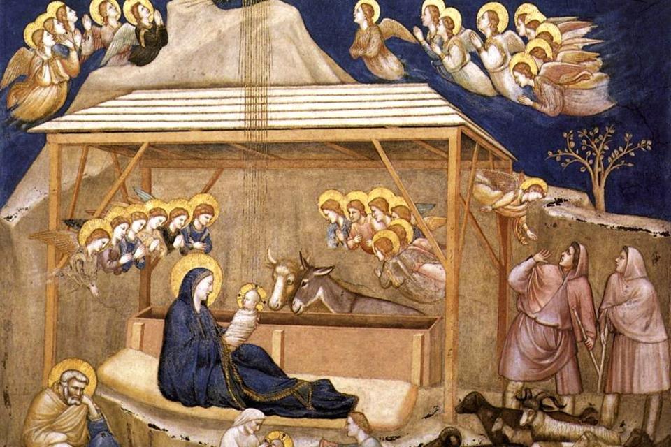 De kerststal volgens Giotto in de beneden-basiliek van Sint Fransiscus in Assisi, Italië
