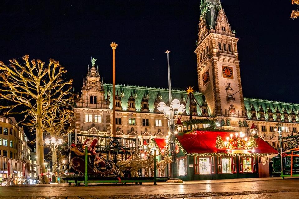 Kerstmarkt in Hamburg, Duitsland