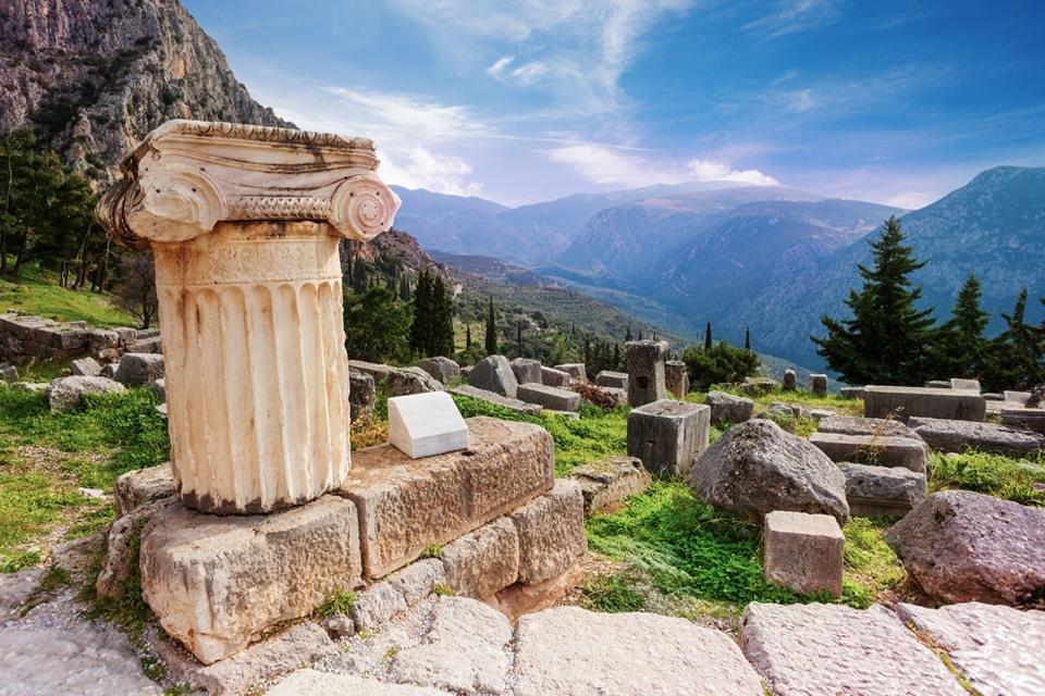 Opgraving van Delphi, Griekenland