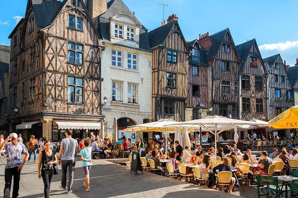 Place Plumereau in Tours, Loire, Frankrijk