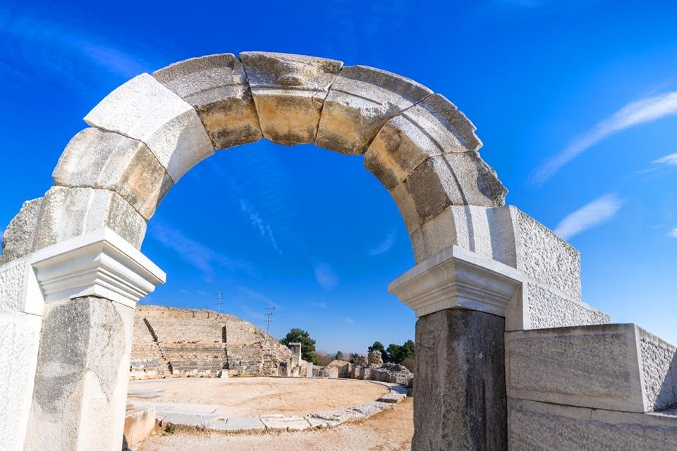 Theater, opgraving van Philippi in Griekenland