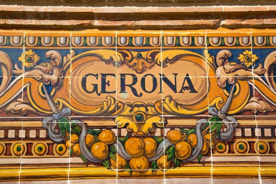 Tegeltjes in Gerona, Spanje