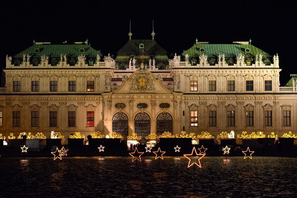 Schloss Belvedere met kerst, Wenen, Oostenrijk