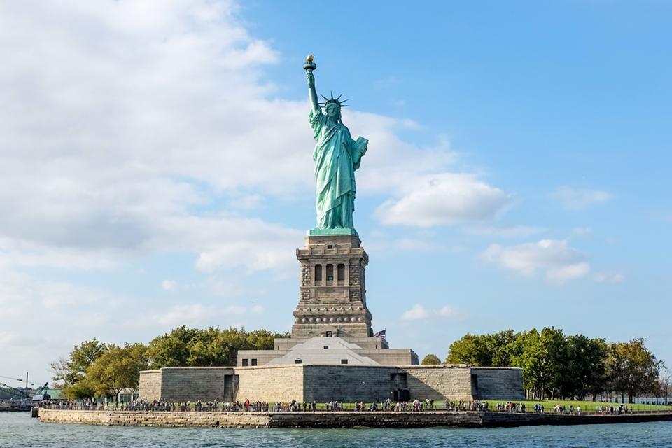 Vrijheidsbeeld op Liberty Island in New York, Amerika