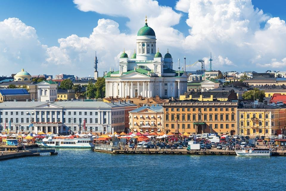 De haven van Helsinki, Finland
