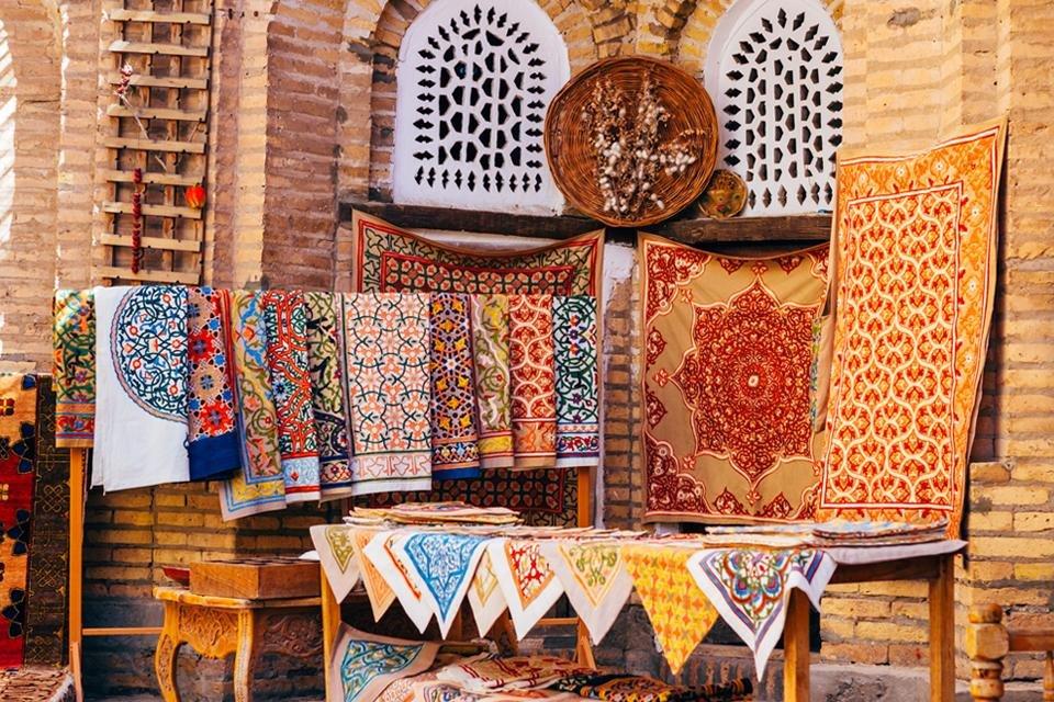 Stoffen en tapijten in Oezbekistan