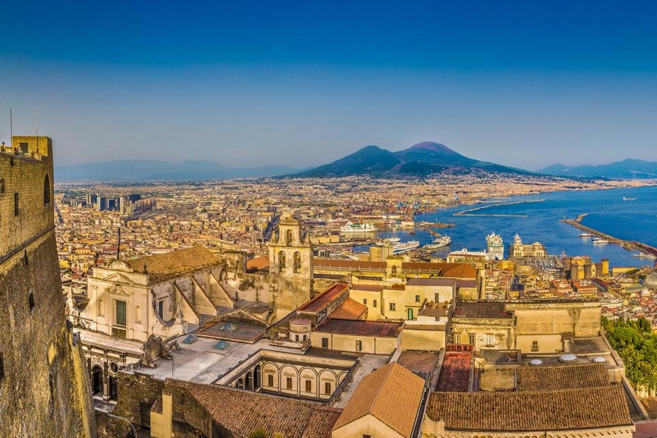Zicht op Napels, Italië