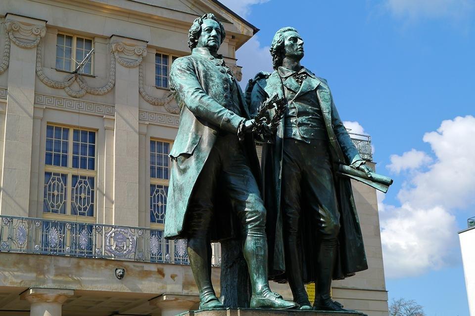Goethe und Schiller Denkmal in Weimar, Duitsland