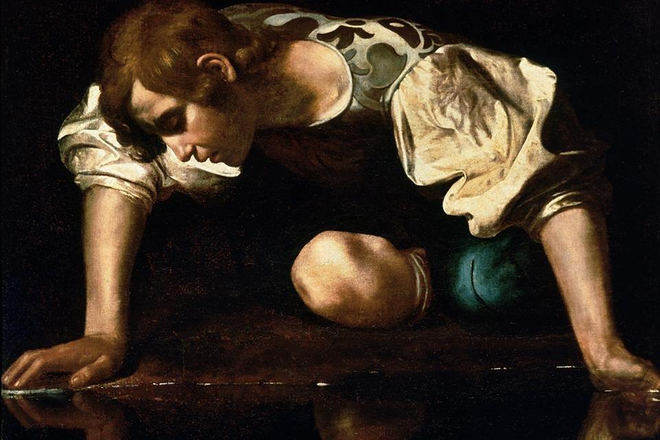 Narcissus van Caravaggio in Rome, Italië