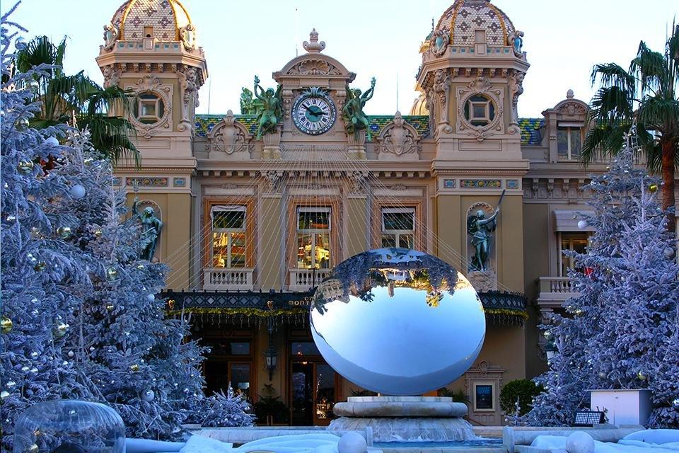 Het casaina van Monaco in kerstsfeer, Frankrijk